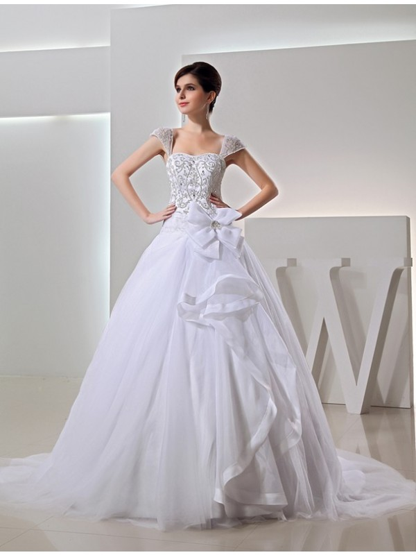 Ball Gown Embroidery Organza Bowknot Long Wedding Dresses With Beading