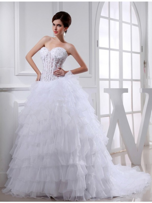Ball Gown Sweetheart Sleeveless Organza Wedding Dresses With Beading Applique