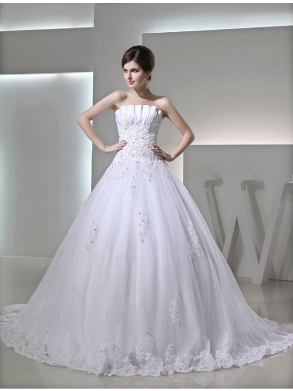 Ball Gown Sleeveless Strapless Satin With Beading Applique Wedding Dresses