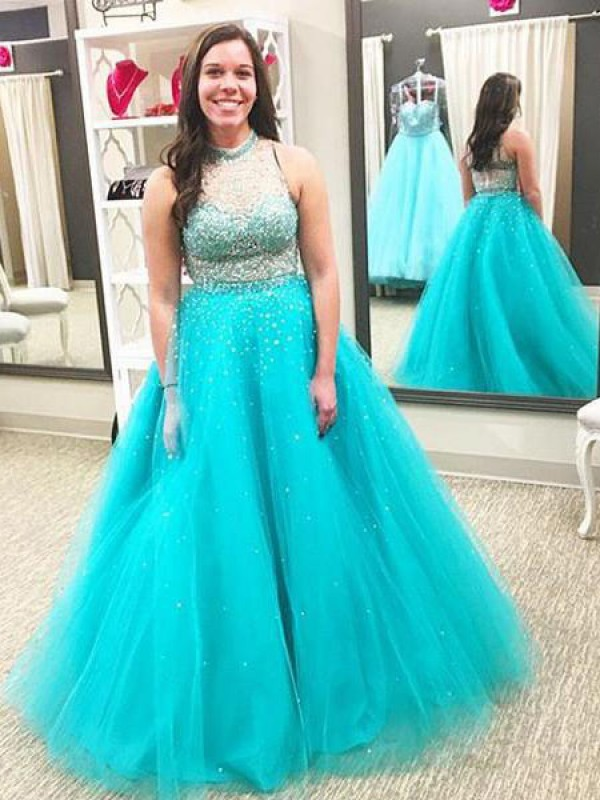 Floor-Length Ball Gown High Neck Sleeveless Tulle Plus Size Dresses With Beading