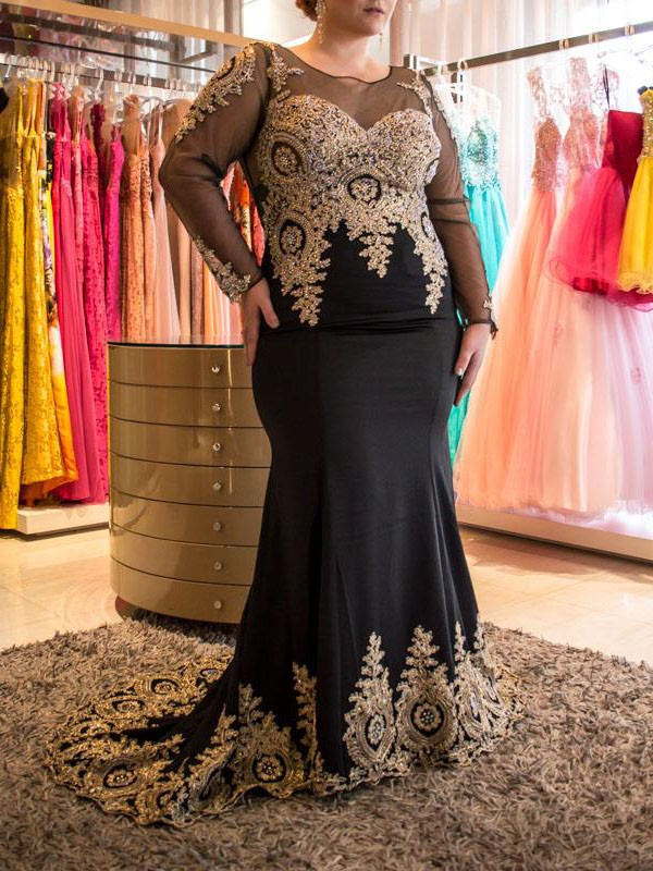 Trumpet/Mermaid Sheer Neck Long Sleeves With Applique Chiffon Long Plus Size Dresses