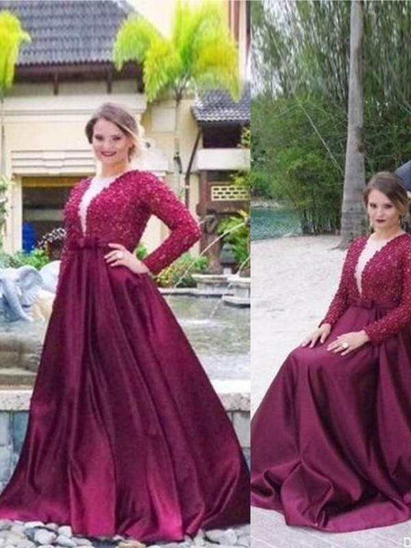 A-Line V-neck Long Sleeves Sweep/Brush Train Satin Plus Size Dresses With Beading
