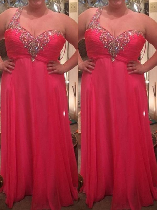 A-Line/Princess One-Shoulder Floor-Length Chiffon Sleeveless Plus Size Dresses With Beading