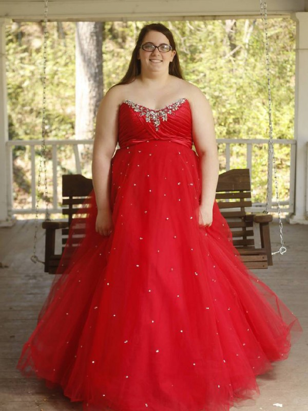 Ball Gown Sweetheart Sleeveless Floor-Length Organza Plus Size Dresses With Beading