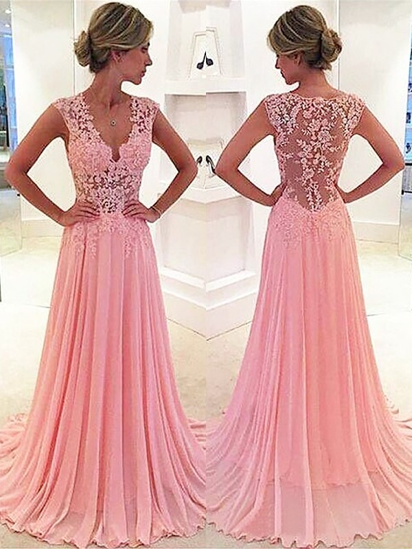 Fabulous Sweep/Brush Train A-Line/Princess Sleeveless Chiffon Lace V-neck Dresses