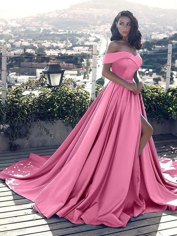 Court Train A-Line/Princess Sleeveless Off-the-Shoulder Ruffles Satin Dresses