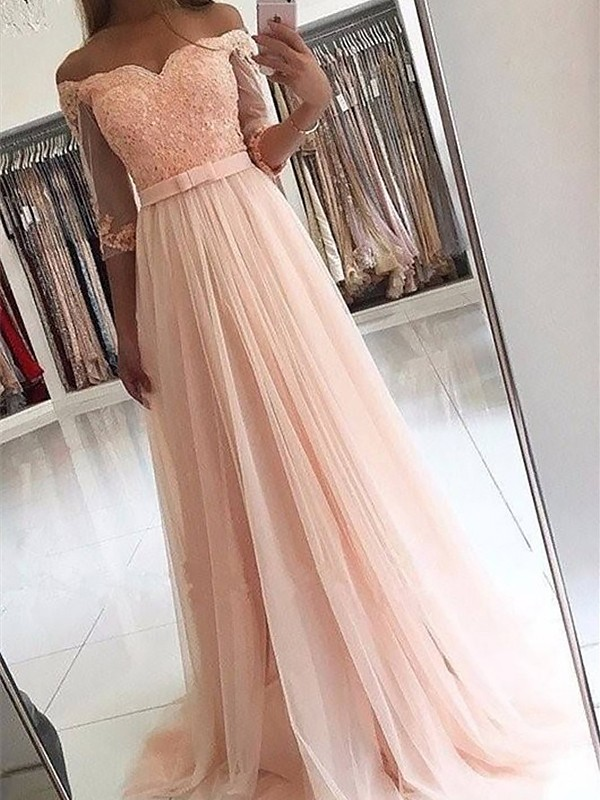 A-Line/Princess 3/4 Sleeves Off-the-Shoulder Tulle Sash/Ribbon/Belt Long Dresses