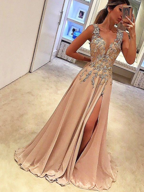 A-Line/Princess V-neck Sleeveless Applique Silk like Satin Long Dresses