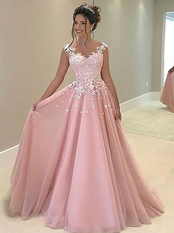 Charming A-Line/Princess Sweetheart Floor-Length Sleeveless Tulle Dresses With Applique