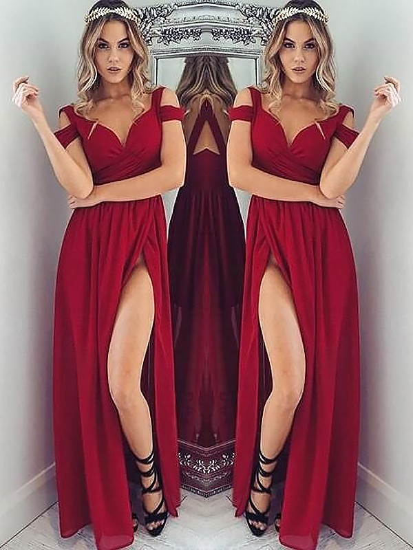 A-Line Off-the-Shoulder Floor-Length Sleeveless With Ruched Chiffon Dresses