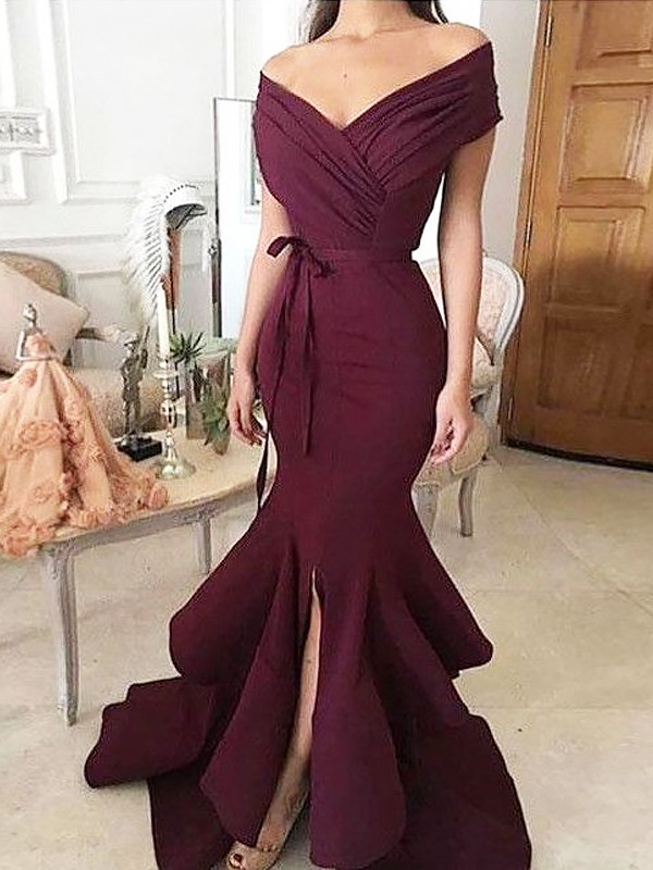 Mermaid Off-the-Shoulder Floor-Length Sleeveless With Ruched Satin Dresses
