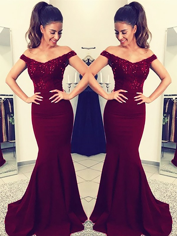 Mermaid Off-the-Shoulder Sweep/Brush Train Sleeveless Lace Satin Dresses
