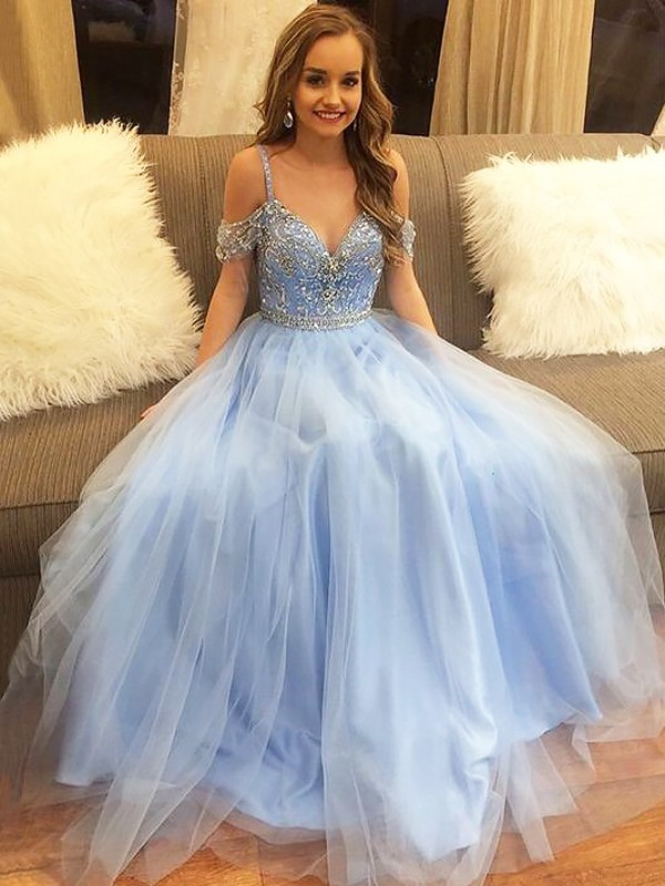 A-Line/Princess Off-the-Shoulder Floor-Length Tulle Sleeveless With Beading Dresses