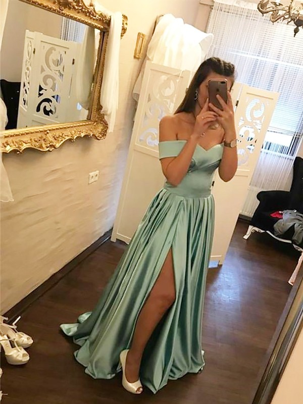 Sweep/Brush Train A-Line/Princess Off-the-Shoulder Satin Dresses With Ruffles