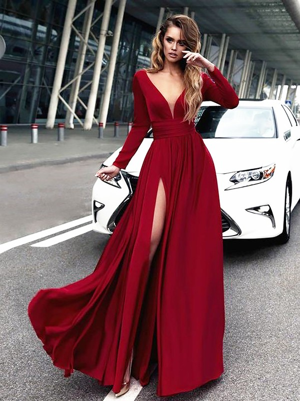 Floor-Length A-Line/Princess V-neck Satin Dresses With Ruffles