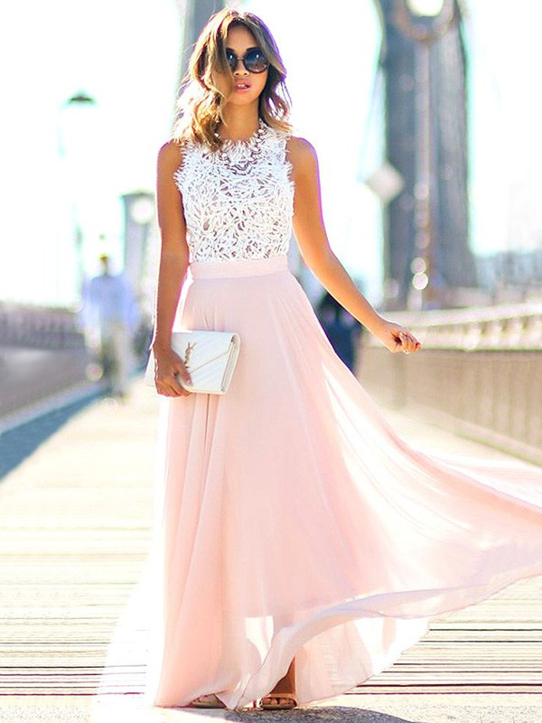 Jewel A-Line/Princess Sleeveless Floor-Length Lace Chiffon Dresses