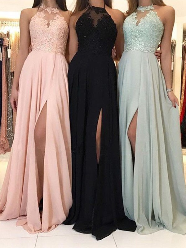 A-Line/Princess Sleeveless Halter Sweep/Brush Train Chiffon Dresses