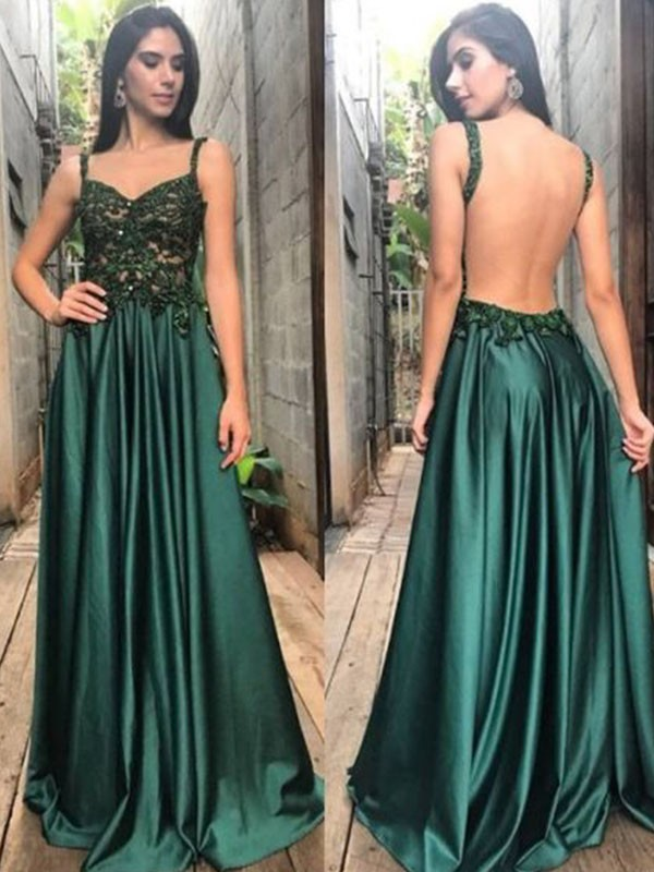 Stunning A-Line/Princess Sleeveless Straps Floor-Length Satin Dresses