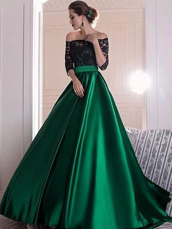 A-Line/Princess 3/4 Sleeves Off-the-Shoulder Sweep/Brush Train Satin Dresses