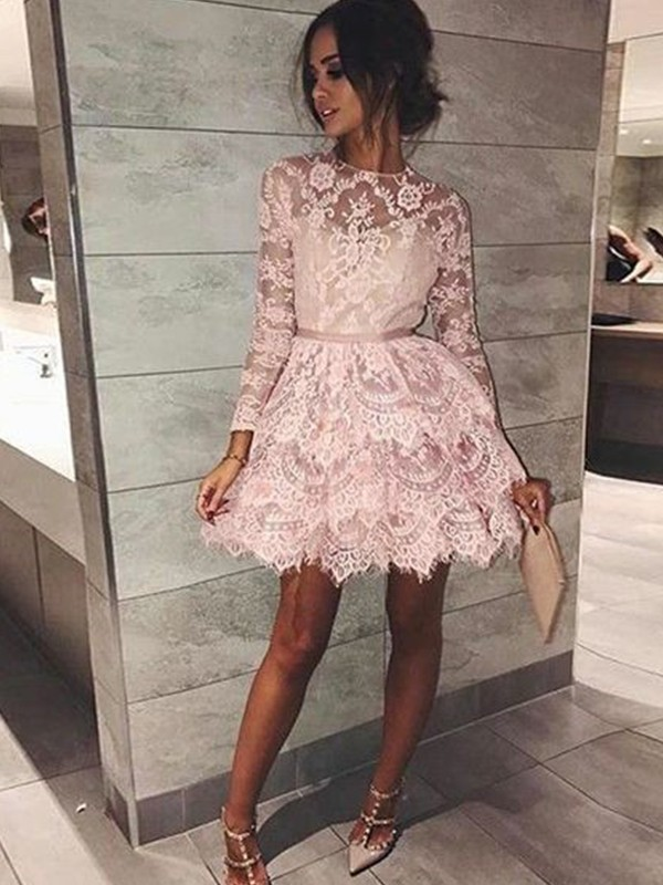 Lace A-Line/Princess Bateau Long Sleeves Short/Mini Dresses With Beading