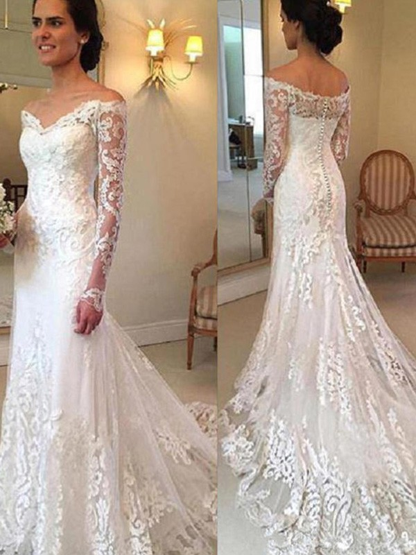 Trumpet/Mermaid Long Sleeves Court Train Off-the-Shoulder Lace Wedding Dresses
