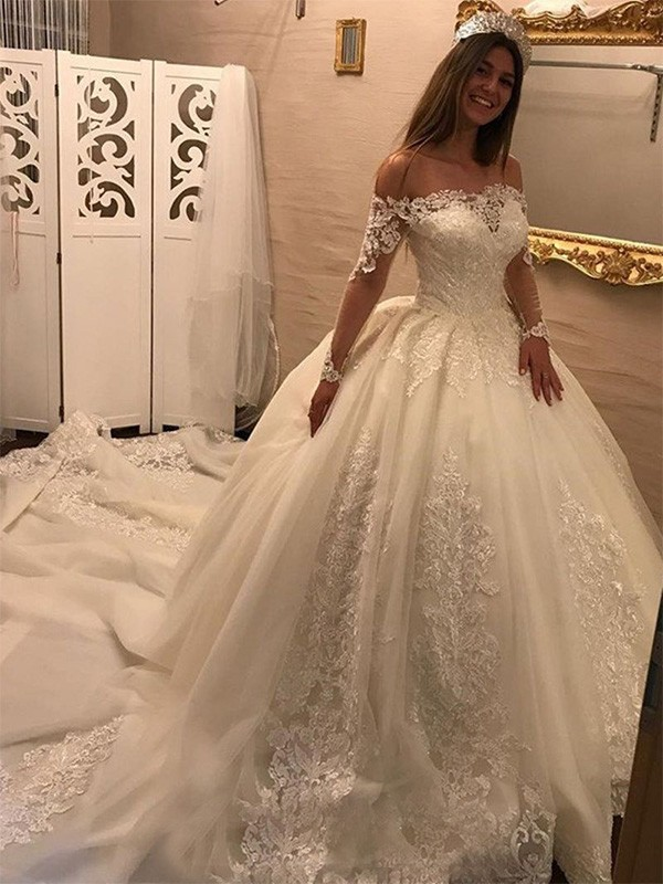 Ball Gown Long Sleeves Off-the-Shoulder Cathedral Train Tulle Wedding Dresses