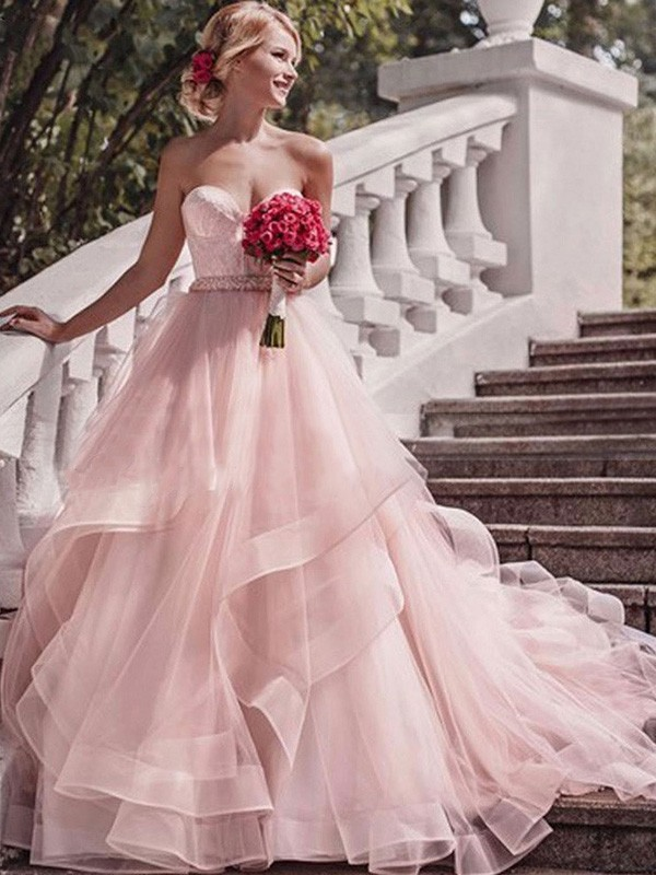 Ball Gown Sleeveless Sweetheart Organza Court Train Wedding Dresses