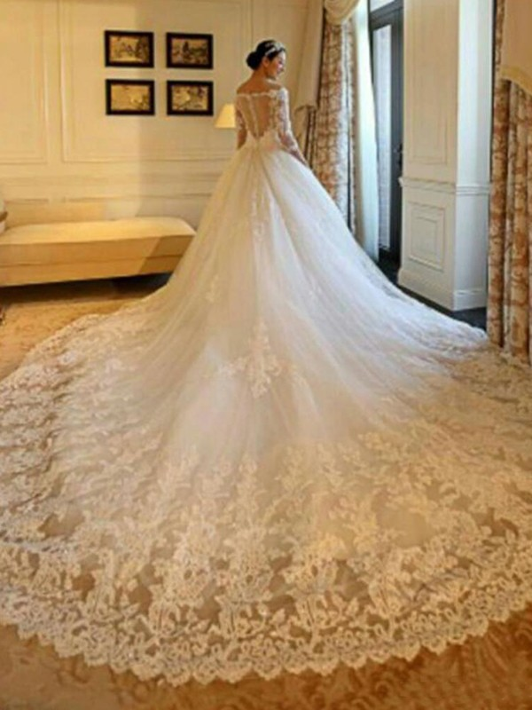 Ball Gown 3/4 Sleeves Off-the-Shoulder Tulle Long Wedding Dresses