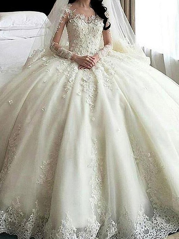 Ball Gown Long Sleeves Scoop Cathedral Train Tulle Wedding Dresses