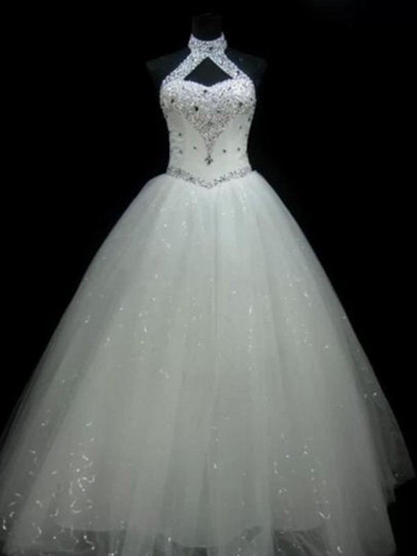 Trendy Ball Gown Floor-Length Sleeveless Halter Tulle Wedding Dresses