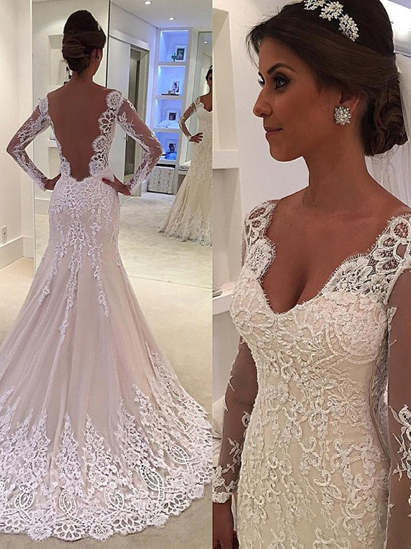 Graceful Trumpet/Mermaid Long Sleeves V-neck Court Train Lace Wedding Dresses