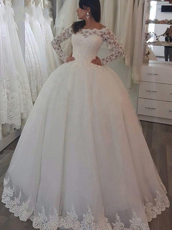Ball Gown Long Sleeves Off-the-Shoulder Lace Sweep/Brush Train Wedding Dresses