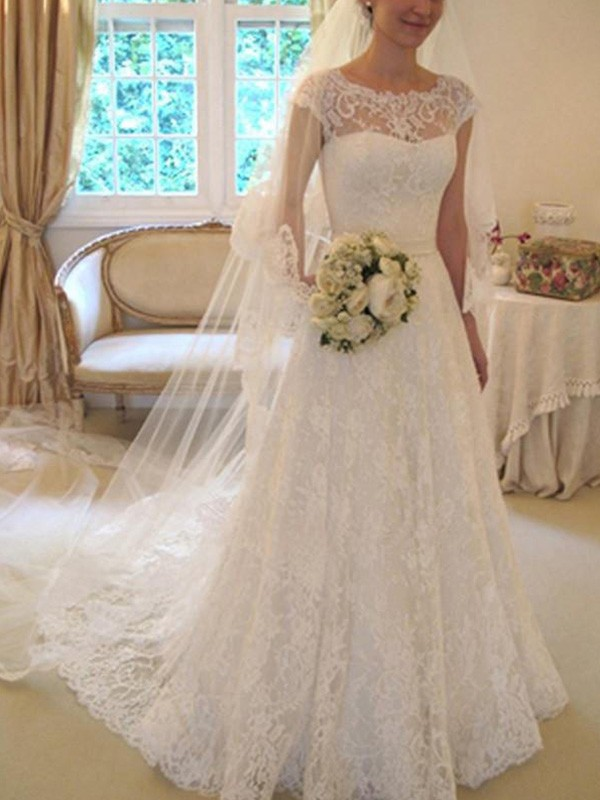 A-Line/Princess Short Sleeves Square Lace Court Train Wedding Dresses