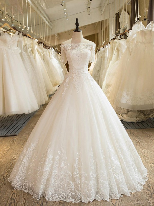 Ball Gown Floor-Length 1/2 Sleeves Off-the-Shoulder Tulle Wedding Dresses