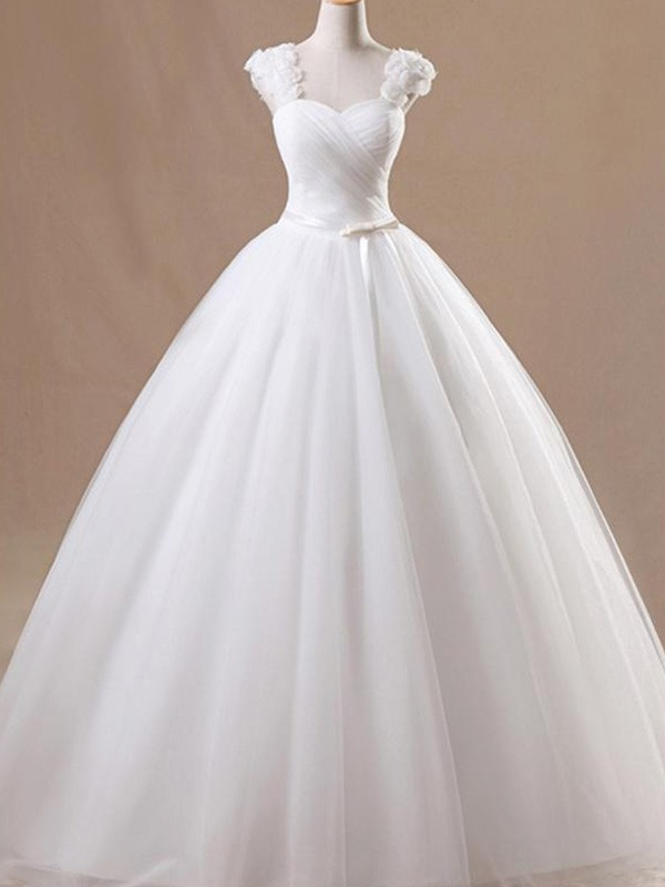 Wonderful Ball Gown Floor-Length Sleeveless Square Tulle Wedding Dresses
