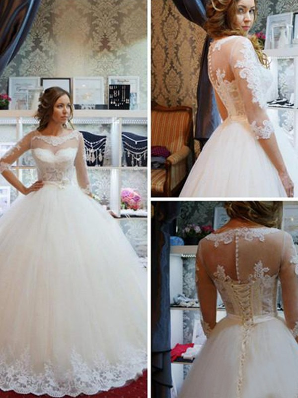 Wonderful Ball Gown Scoop Tulle Floor-Length Wedding Dresses