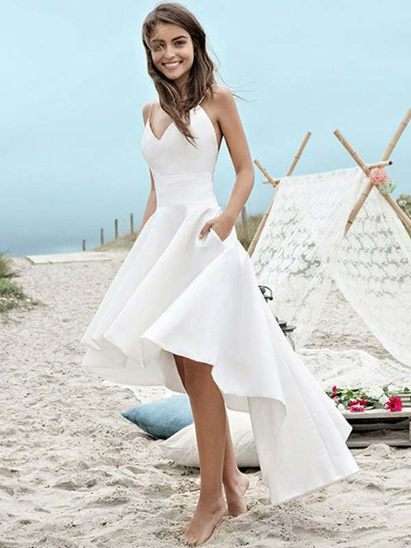 A-Line/Princess Spaghetti Straps Asymmetrical Satin Wedding Dresses