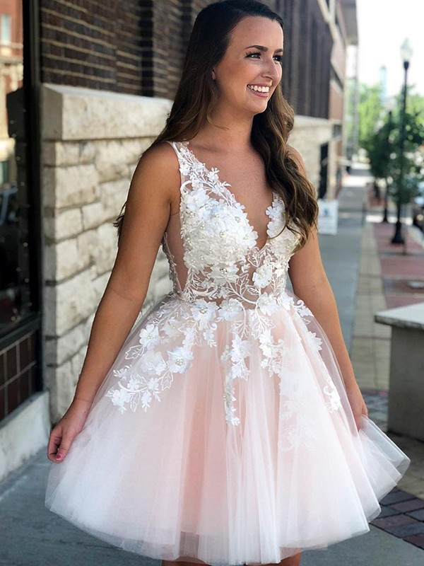 A-Line/Princess V-neck Sleeveless Short/Mini Tulle Homecoming Dresses