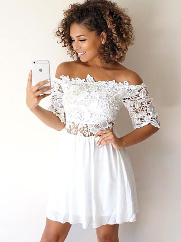 A-Line/Princess Off-the-Shoulder 1/2 Sleeves Short/Mini Chiffon Homecoming Dresses