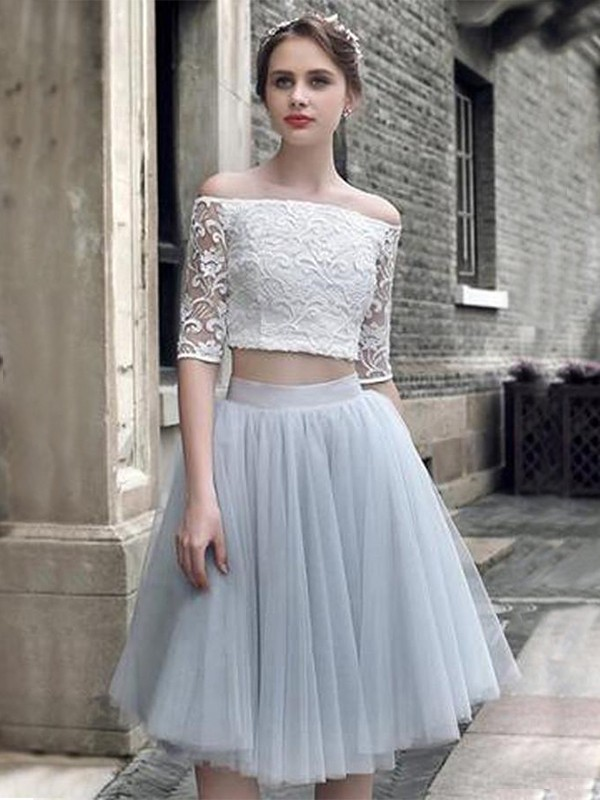 A-Line/Princess Off-the-Shoulder 1/2 Sleeves Knee-Length Tulle Homecoming Dresses