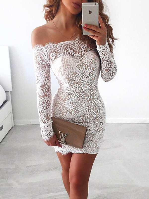Sheath/Column Off-the-Shoulder Short/Mini Long Sleeves Lace Dresses
