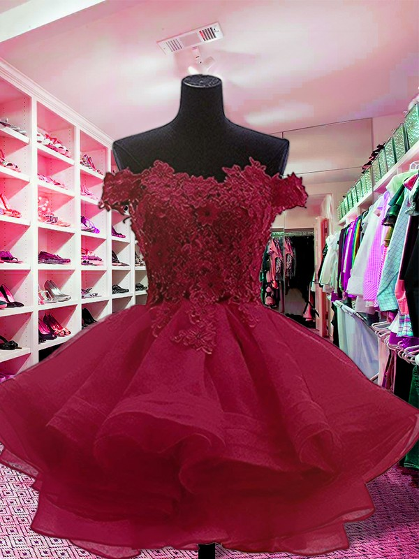 Ball Gown Off-the-Shoulder Sleeveless Organza Short/Mini Dresses