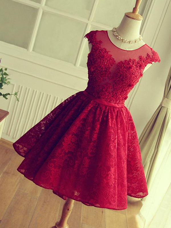 A-Line/Princess Jewel Sleeveless Short/Mini Lace Dresses