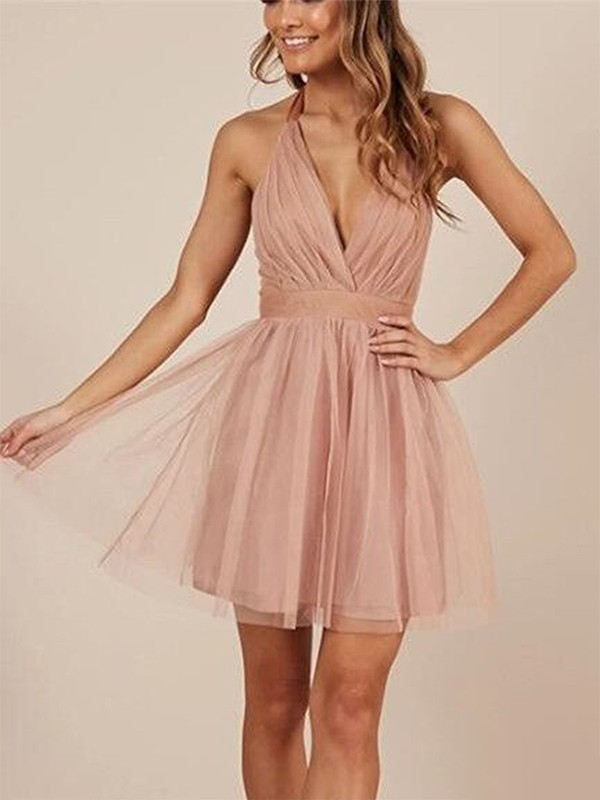 Stunning A-Line/Princess Halter Sleeveless Tulle Short/Mini Dresses