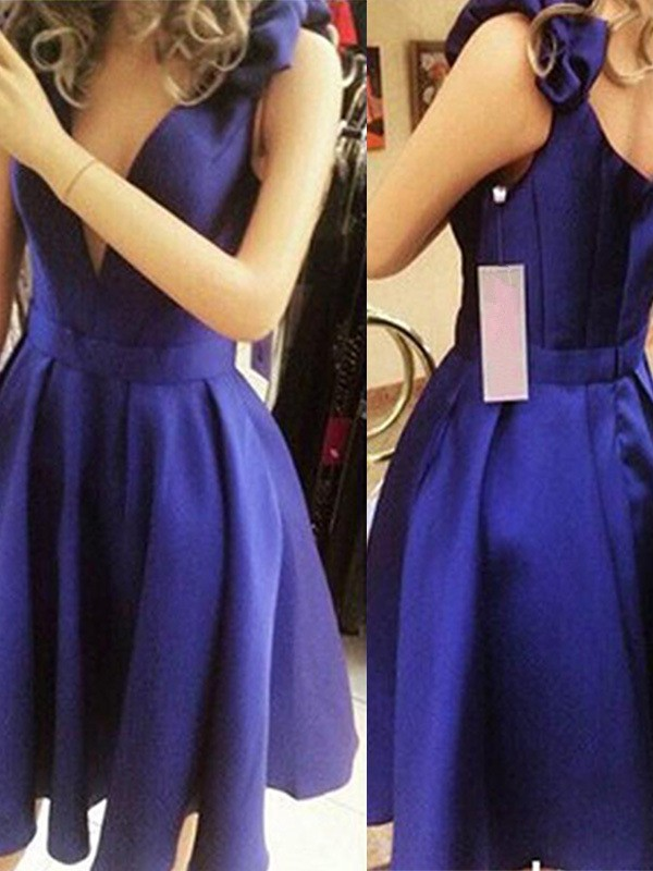 Popular A-Line/Princess Straps Sleeveless Satin Short/Mini Dresses