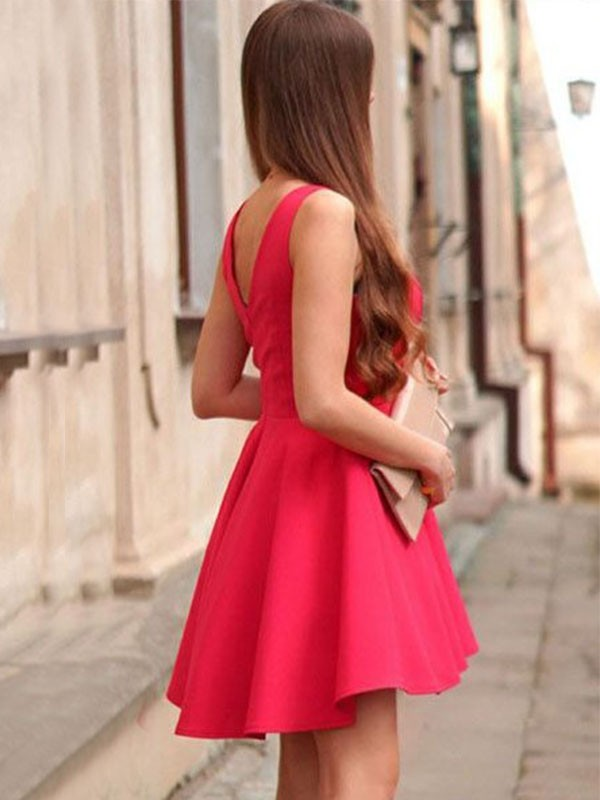 Lovely A-Line/Princess V-neck Sleeveless Short/Mini Satin Dresses