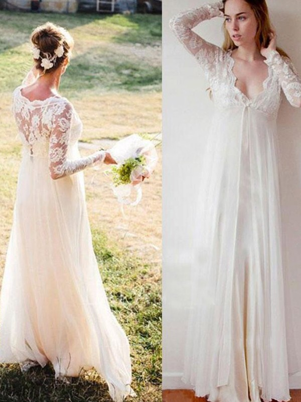 Classical Empire V-neck Long Sleeves Floor-Length Chiffon Wedding Dresses