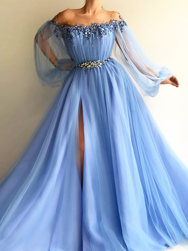 A-Line/Princess Off-the-Shoulder Floor-Length Long Sleeves Tulle Dresses