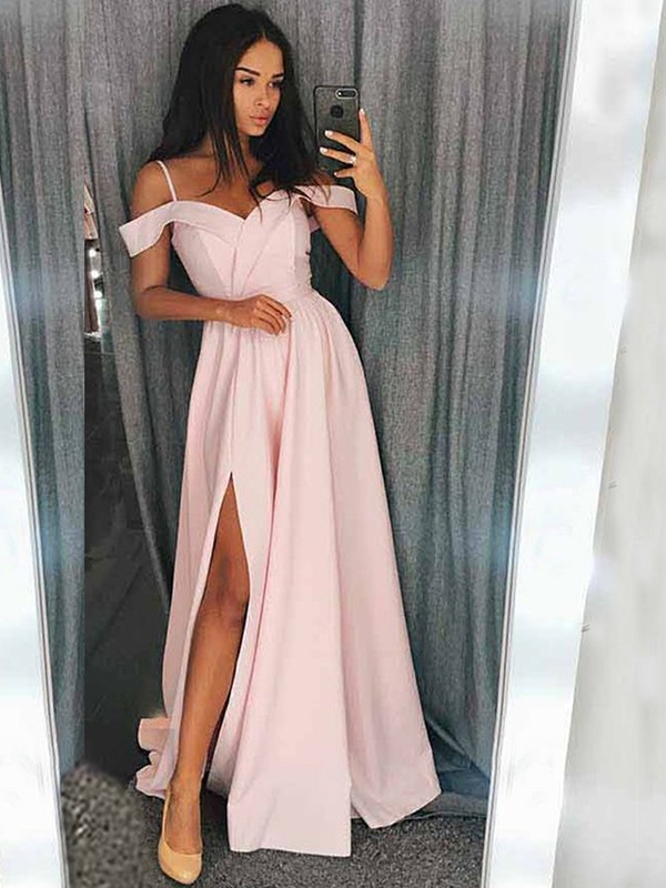 A-Line/Princess Off-the-Shoulder Sweep/Brush Train Sleeveless Satin Dresses