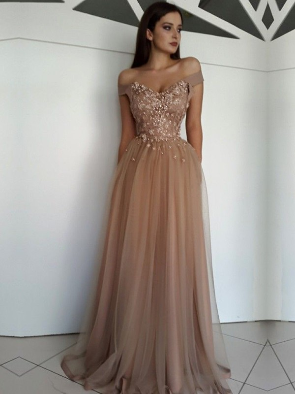 A-Line/Princess Off-the-Shoulder Floor-Length Sleeveless Tulle Dresses